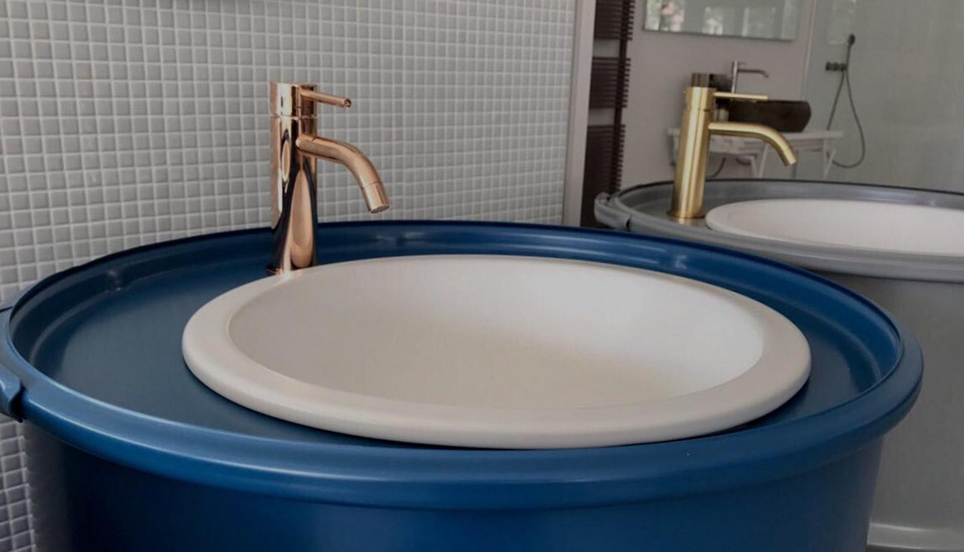 bidone lavabo Sink blu