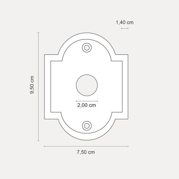 rosetta classica per maniglie 75x95 mm