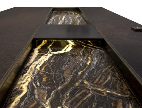 maniglia su misura per porta blindata le fabric design in ferro e marmo con led Ercole Porte Sicurezza Blindare Produzione LEFABRIC DESIGN 2