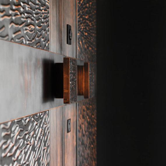 portone blindato maniglia personalizzata in bronzo