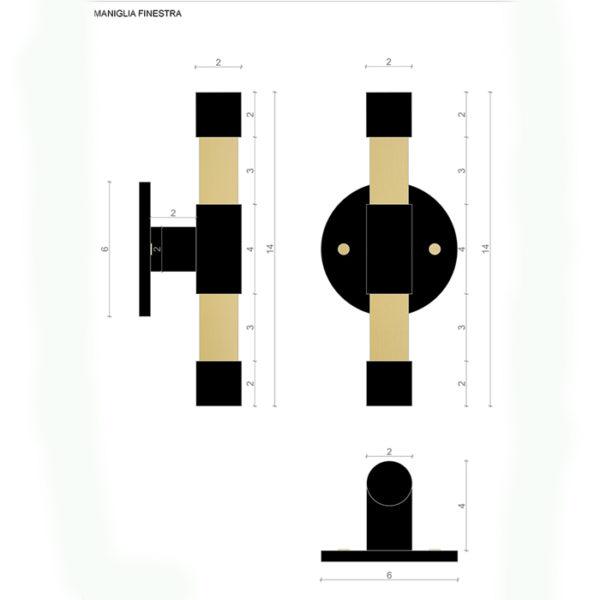 Technical project schema Matt Handle Le Fabric italian design